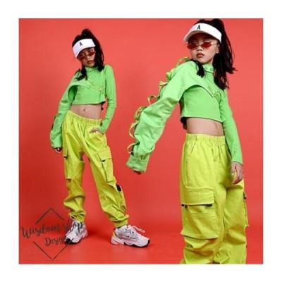 キッズダンス衣装 ヒップホップ HIPHOP 女の子 3点セット 長袖トップス ロングパンツ 子供服 ステージ衣装 ジャズダンス 練習着