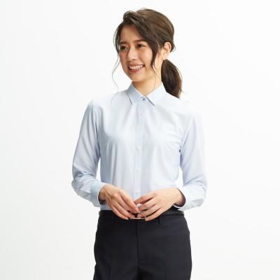 メイク汚れ対応 ブルーストライプシャツカラーシャツ 洗える 隠しボタン付