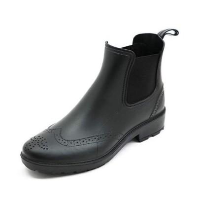 [アシスタント] レインブーツ 長靴 メンズ 防水 ビジネス シューズ サイドゴア (ブラック, M)