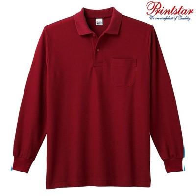 メンズ ポロシャツ 長袖 鹿の子 ポケット付き 5.8オンス 無地 バーガンディ S サイズ 169-VLP