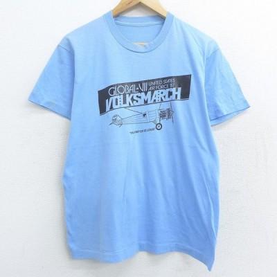 L/古着 半袖 ビンテージ Tシャツ 80s 飛行機 VOLKSMARCH スピリットオブセントルイス クルーネック 薄青 ブルー 21may13 中古 メンズ