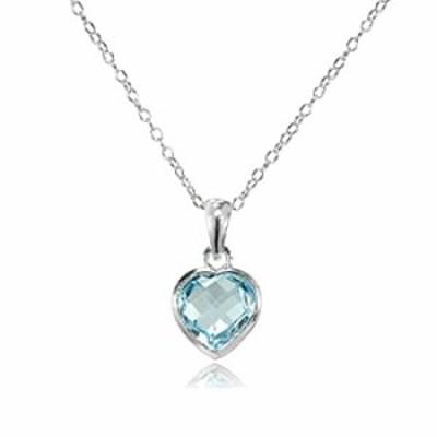 GemStar USA Sterling Silver Blue Topaz 8mm Bezel-Set Heart Pendant Necklace