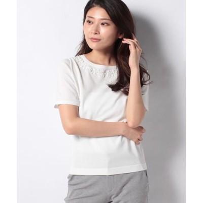 MADAM JOCONDE/マダムジョコンダ SONA ビーズ刺繍ニットプルオーバー ホワイト 40
