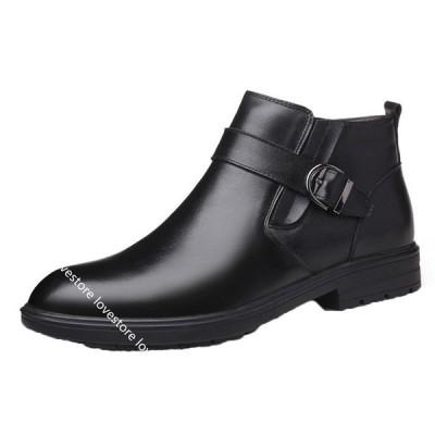 チェルシーブーツ 革靴 本革 ビジネスシューズ ショートブーツ 紳士靴 メンズ 男靴 ローファー ポインテッドトゥ フォーマル ハイカット