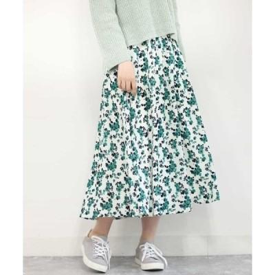 スカート 【洗える】花柄ロングスカート