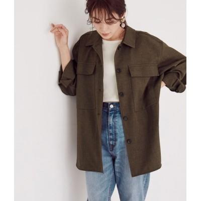 ロペ/【セットアップ対応】ツイードライクCPOシャツジャケット/ダークブラウン/38