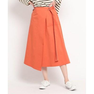 <Dessin(Women)/デッサン>【S~L】コットンサテンラップ風スカート オレンジ066【三越伊勢丹/公式】