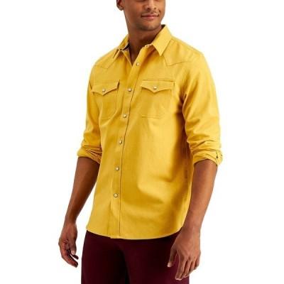 サンアンドプラスストーン シャツ トップス メンズ Men's Jacob Regular-Fit Textured Western Shirt, Created for Macy's Delightful Gold