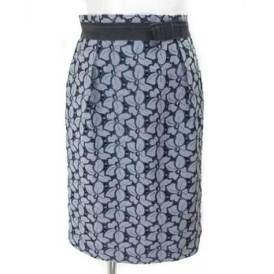エフデ ef-de 紺 カットワーク スカート 9