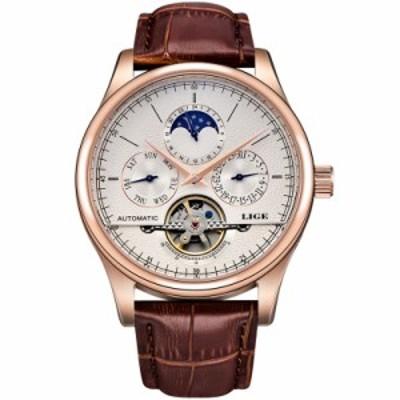 LIGE 腕時計 メンズ  海外ブランド 機械式 自動巻き トゥールビヨン ゴールドホワイト