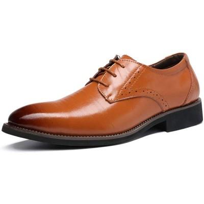[CTEZ] ビジネスシューズレザーシューズ軽量防水フォーマルシューズフラットヒールメンズシューズアウターフェザーファッション紳士靴-黄色-25.5