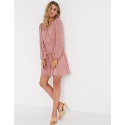 エイソス レディース ワンピース トップス ASOS DESIGN wrap front shirred waist mini skater dress in dusky pink Dusky pink