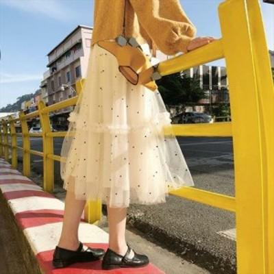 スカート ドット 柄 チュール シフォン 透け感 シースルー Aライン フレア ティアード ミディ丈 ミモレ丈 サイズ S/M フェミニン 可愛い