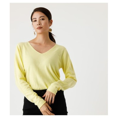 (AZUL by moussy/アズールバイマウジー)NUDIE V/N KNIT TOPS 3/レディース L/YEL1