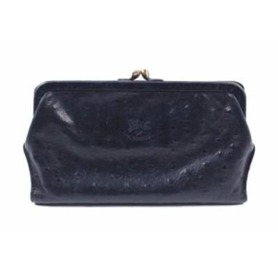 【中古】イルビゾンテ IL BISONTE 長財布 二つ折り がま口 オーストリッチ 黒 ブラック /fy0504 レディース