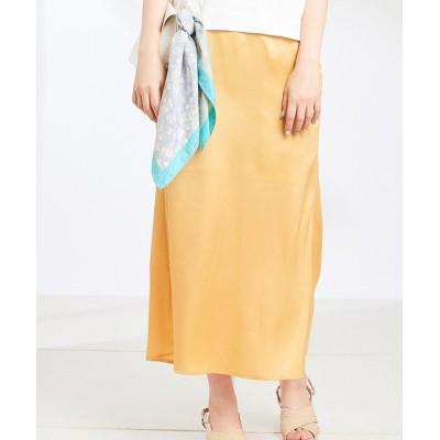 (NICE CLAUP OUTLET/ナイスクラップ アウトレット)【natural couture】サテンマーメイドスカート/レディース イエロー