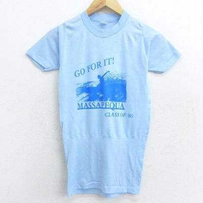 S/古着 半袖 ビンテージ サーフ Tシャツ 80s サーフィン マサペクア クルーネック 水色 21may26 中古 メンズ