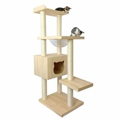 キャットタワーの猫砂大きな木製天然サイザルロープ1つの多層猫別荘木製猫 (新古未使用品)