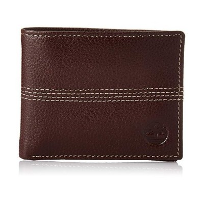 Timberland Men's Blix Slimfold Leather Wallet, Brown (Quad Stitch), One Size【並行輸入品】