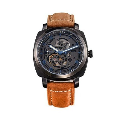 Seagull Movement Fully Hollow Automatic Mechanical Men's Watch Personality Trendy Men's Watch See-Through Back (Brown Strap)_並行輸入品