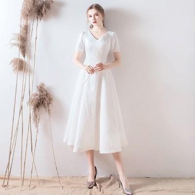 ウエディングドレス Aライン 袖あり 二次会 結婚式 花嫁 白 大きいサイズ 安い 海外挙式 パーティードレス 披露宴 ブライダル ロングドレス 演奏会
