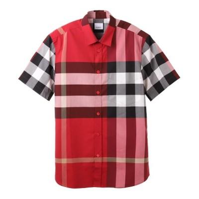 バーバリー BURBERRY カジュアルシャツ SHORT-SLEEVE CHECK STRETCH COTTON POPLIN SHIRT レッド メンズ 8020856-paradered-ip-chk
