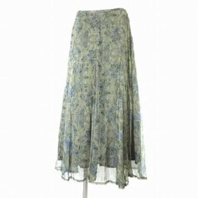 【中古】スキャパ SCAPA スカート シルク ロング マキシ フレア 花柄 総柄 シフォン 緑 44 ボトムス レディース