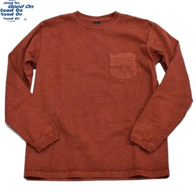 ロンT グッドオン GOODON ロングスリーブポケットクルーTシャツ P-ダークオレンジ S M L XL