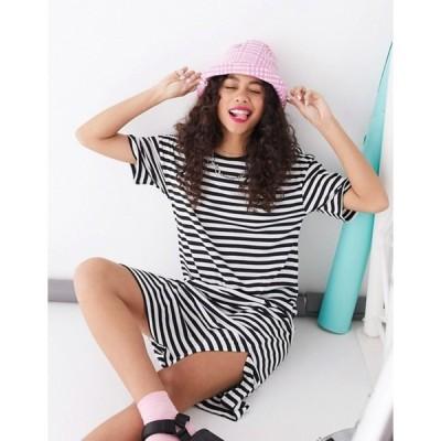 ノイジーメイ レディース ワンピース トップス Noisy May oversized t-shirt dress in stripe