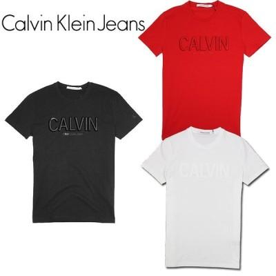 【Calvin klein Jeans】カルバン・クライン ジーンズ クルーネックロゴTシャツ 半袖Tシャツ ユニセックス ロゴ アクセント