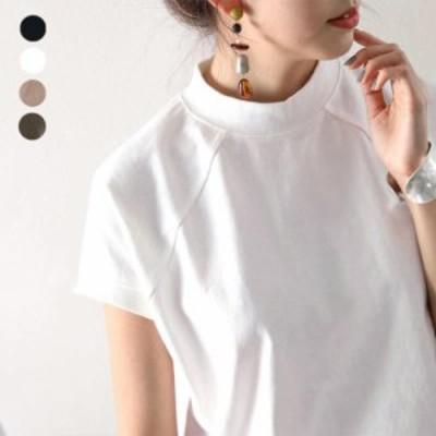 tシャツ Tシャツ 綿100%コットン、大人のモックネックTシャツ