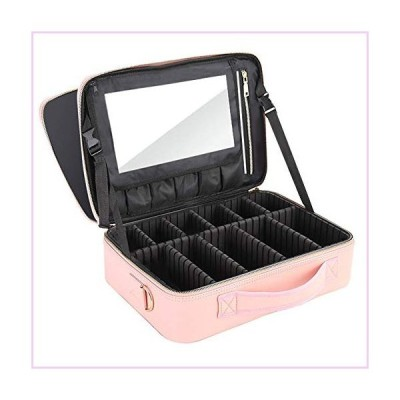 Professional Makeup Bag With Mirror Partition Organizer Large Capacity Travel Cosmetic Storage Bag■並行輸入品■
