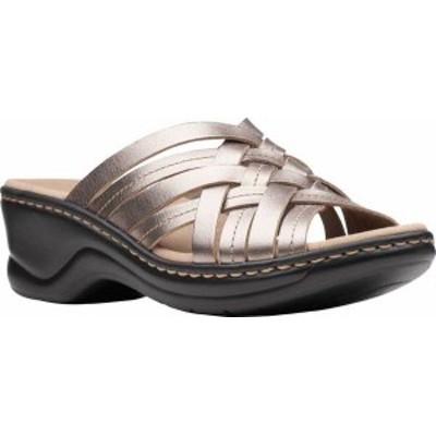 クラークス レディース サンダル シューズ Women's Clarks Lexi Selina Slide Pewter Metallic Full Grain Leather