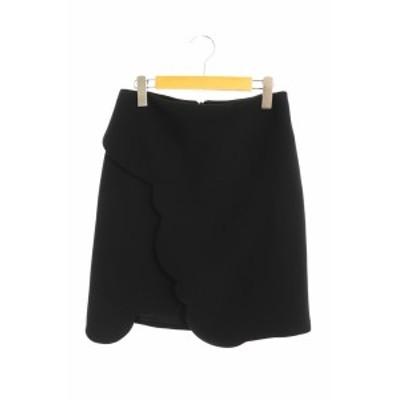 【中古】カルヴェン CARVEN スカラップデザインスカート 台形 膝丈 38 黒 /AA ■OS ■SH レディース