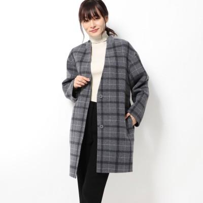 リネーム Rename ノーカラーチェックジャケットコート (ダークグレー)
