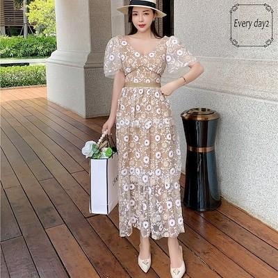 韓国ファッション2021夏 刺繍ワンピース 結婚式 女子会 発表会 二次会  ドレス お呼ばれ パーティー セレブ 女優 同窓会 お茶会 オフィス OL 普段着