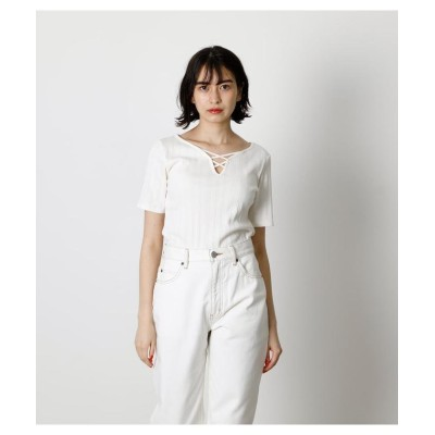 (AZUL by moussy/アズールバイマウジー)HEART NECK LACE UP TOPS/レディース O/WHT1