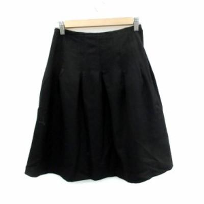 【中古】プロポーション ボディドレッシング スカート フレア ひざ丈 無地 ウール 1 黒 ブラック /SM21 レディース