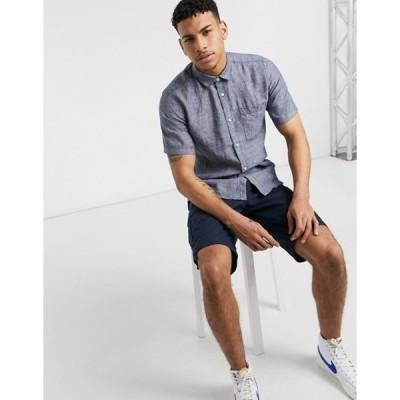 オンリーアンドサンズ メンズ シャツ トップス Only & Sons linen short sleeved shirt in blue