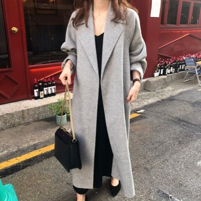 高品質ベルト付きゆるロングチェスターコート?韓国ファッション レディース新作OL通勤/コート