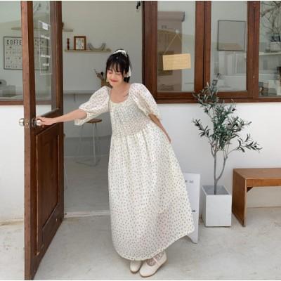 花柄 ワンピース ロング シャーリング ふんわり 体型カバー フェミニン 大人可愛い 半袖
