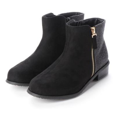 マシュガール masyugirl 【4E/幅広ゆったり・大きいサイズの靴】 異素材切り替えカジュアルブーツ (ブラックツイード)SOROTTO