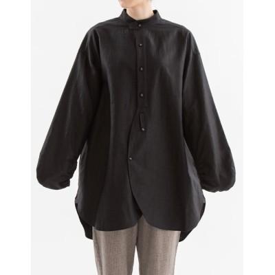【ノップドゥノッド】 リネンコットン変形ボリューム袖チュニックシャツ レディース ブラック M nop de nod