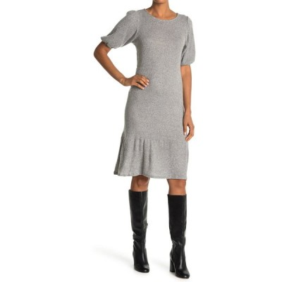 マックス アンド アッシュ レディース ワンピース トップス Knit Puff Sleeve Midi Dress WHITE BLAC