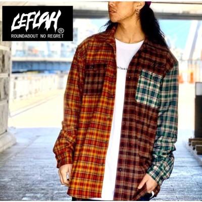 【LEFLAH】multicolor checked shirts (オレンジ)