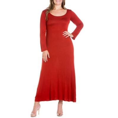 24セブンコンフォート レディース ワンピース トップス Plus Size Long Sleeve Maxi Dress