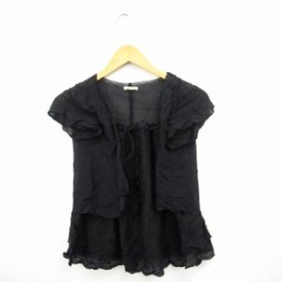 【中古】シャツ ブラウス 刺繍 シンプル 丸首 フレンチスリーブ シルク 絹 コットン 綿 ブラック 黒 /MT4 レディース