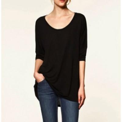 長袖 七分袖 ラウンドネックTシャツ ホワイト、ブラック、イエロー、イエローグリーン、バイオレット