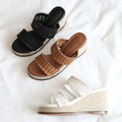 サンダル エスパドリーユ メッシュ ウェッジヒール ウェッジソール レディース フラット 黒 茶色 白 ブラック ブラウン ホワイト 靴 婦人靴 歩きやすい 痛くない