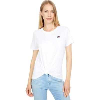 トミー ヒルフィガー Tommy Hilfiger Sport レディース Tシャツ ロゴTシャツ トップス Logo Front Knot Tee with Embroidered Flag Logo White